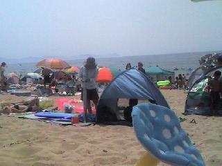手前右側は持参のキノコ浮輪のキノコの傘の部分です